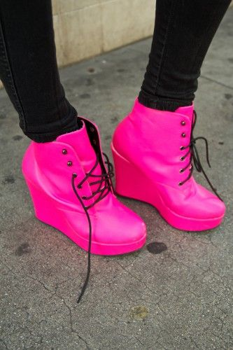 Pink shoes, Hot pink wedges