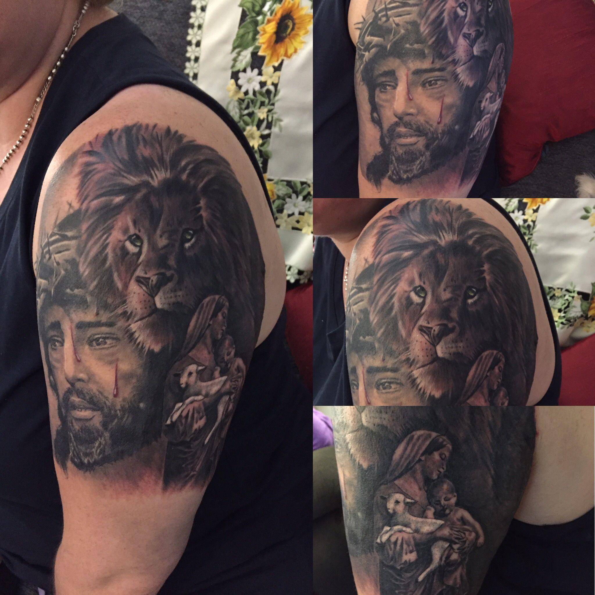 Tattoo Lion Of Judah Lamb Of God Jesus Crown Of Thorns Mother
