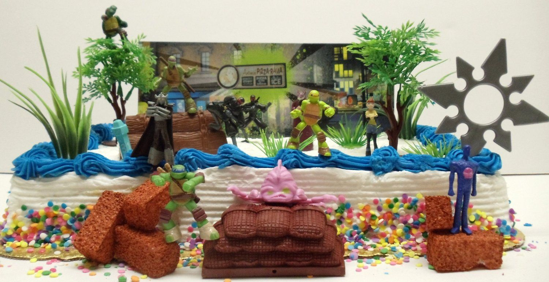 Amazon Com Teenage Mutant Ninja Turtles 25 Piece Birthday Cake Topper Set Featuring Sensei Splinter Donate Birthday Cake Toppers Decorator Icing Cake Toppers