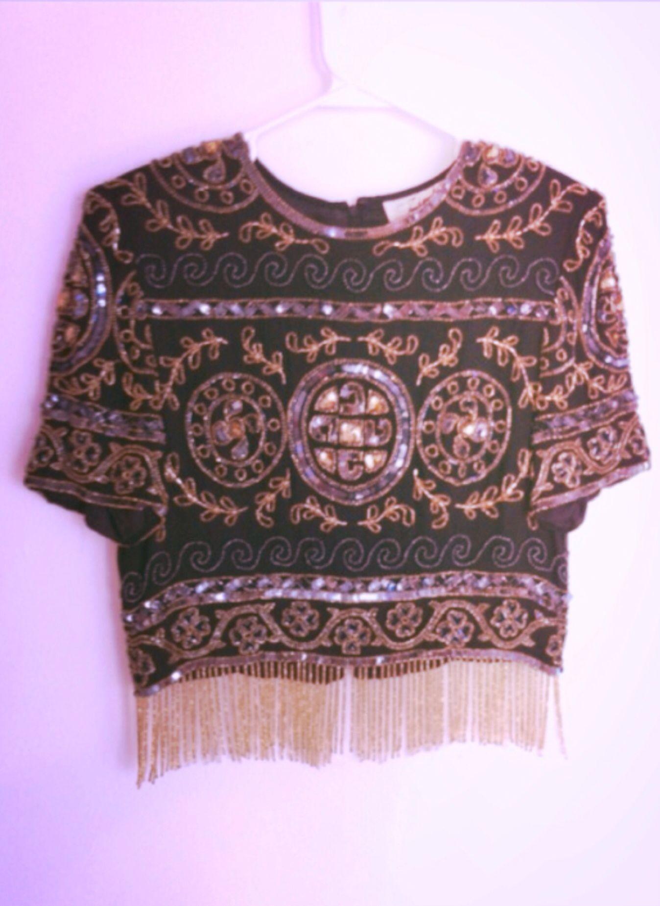 039aec996699 beaded fringe crop top Beaded Fringe Shirt