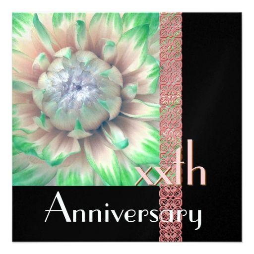 CUSTOM YEAR Anniversary Invitation PINK and GREEN