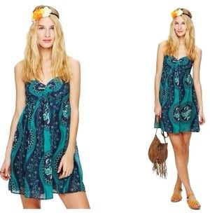 Free People short dress Aqua Bohemian on Tradesy