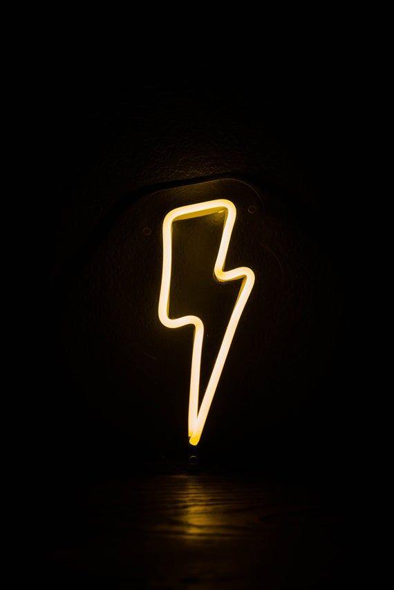 Lightening Bolt Neon LED Sign for office, business, home, nursery, events, office, nightlight, etc.