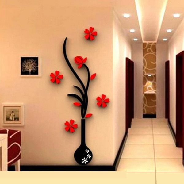 3D Vase Removable Flower Tree Crystal Acrylic wall sticker Home