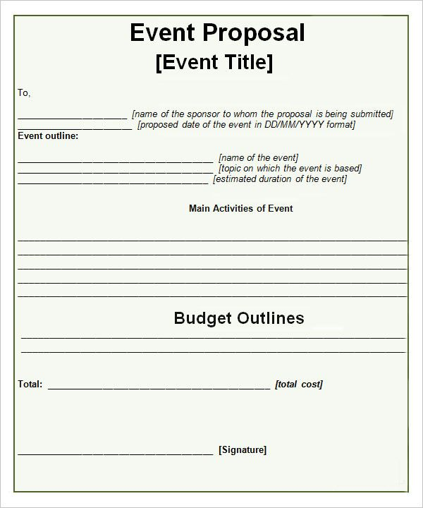 Event Proposal Templates u2026 Pinteresu2026 - job proposal template free