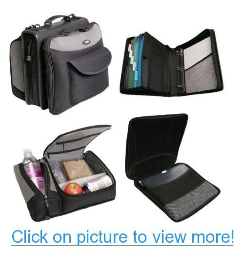 Case-It Build-A-Binder - Neoprene Zipper Binder with Computer Case and Lunch Kit, Black/Grey (M-999)