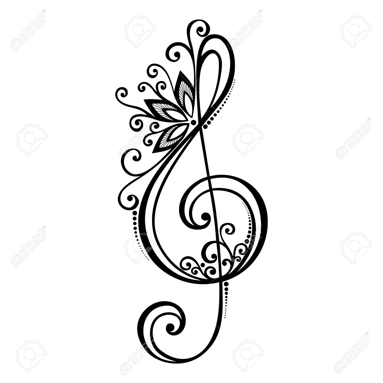 love music notes coloring pages | floral treble clef tattoos - Google Search | Music tattoos ...