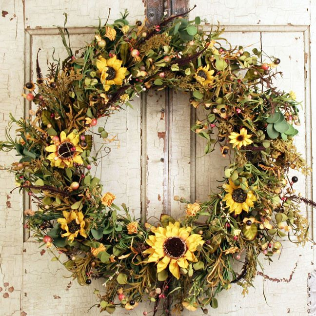 Sweet Hannas Sunflower Silk Door Wreath 22 Inch Wreaths Fall Wreaths Sunflower Wreaths
