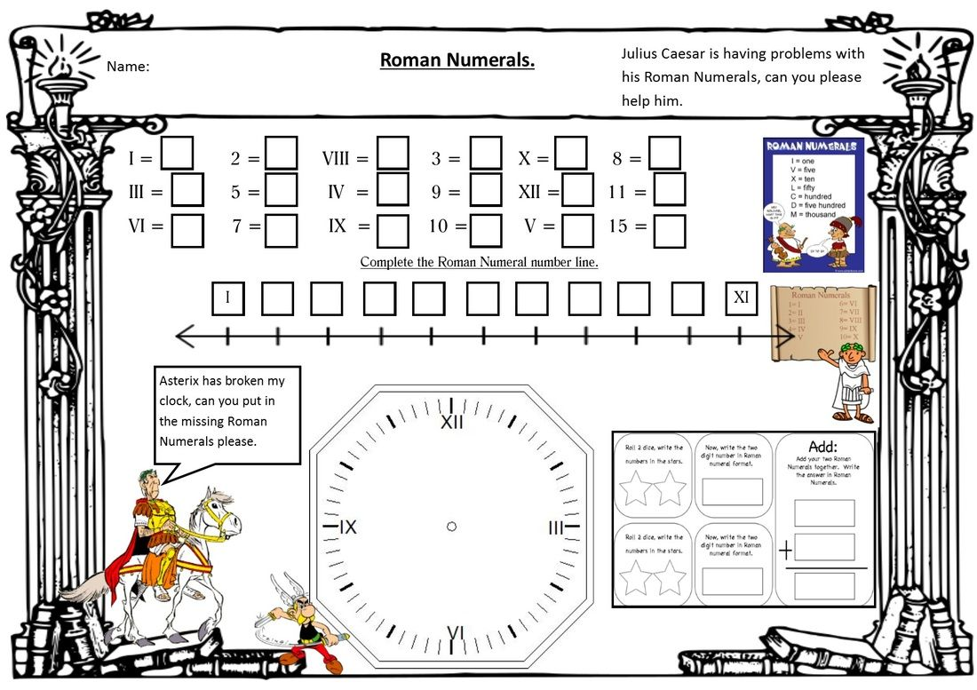 Roman Numerals Worksheet Adding