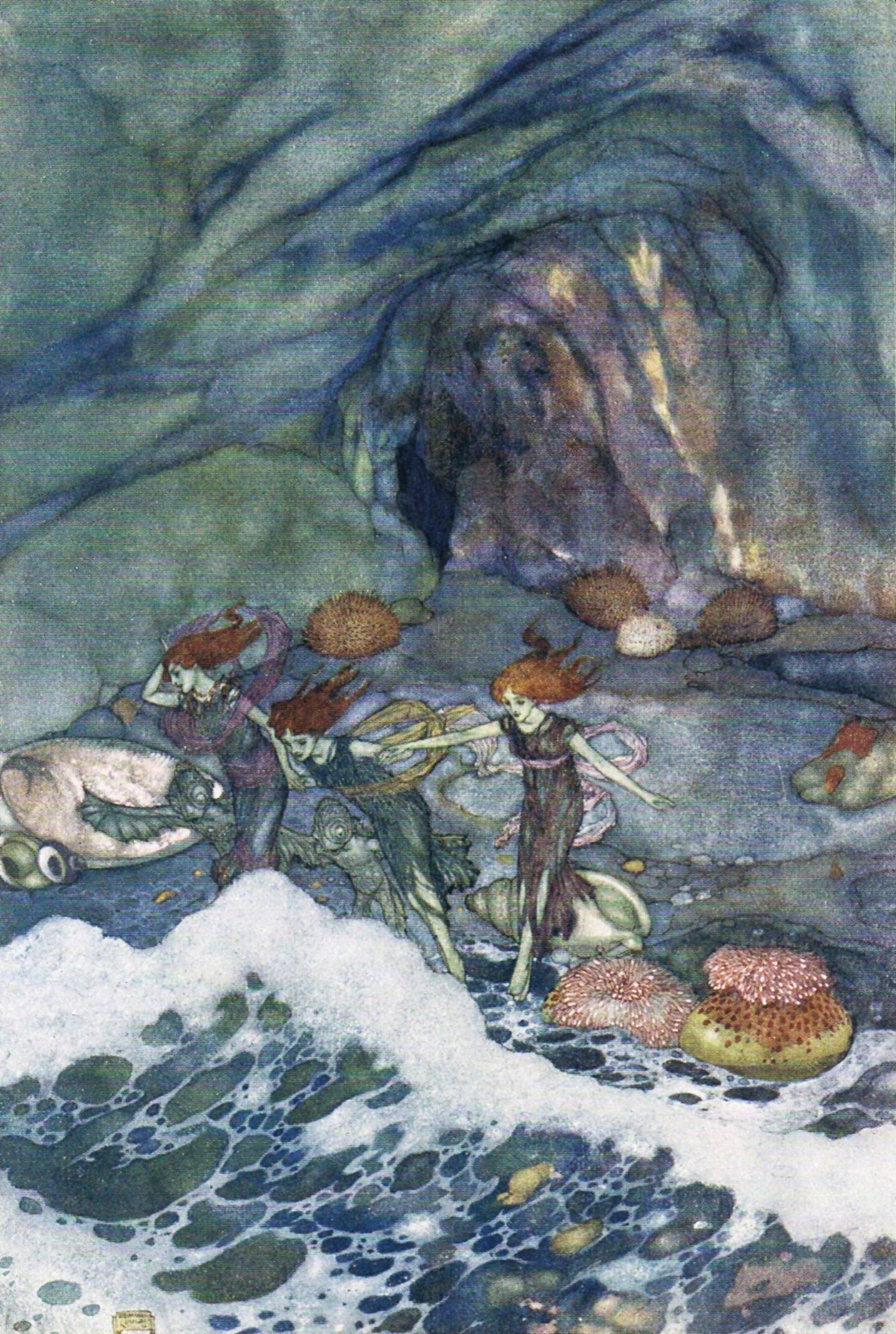 Prospero.- And ye that on the sands... Shakespeare's Comedy of 'The Tempest' (Act V, scene I) illustrated by Edmund Dulac (1908)