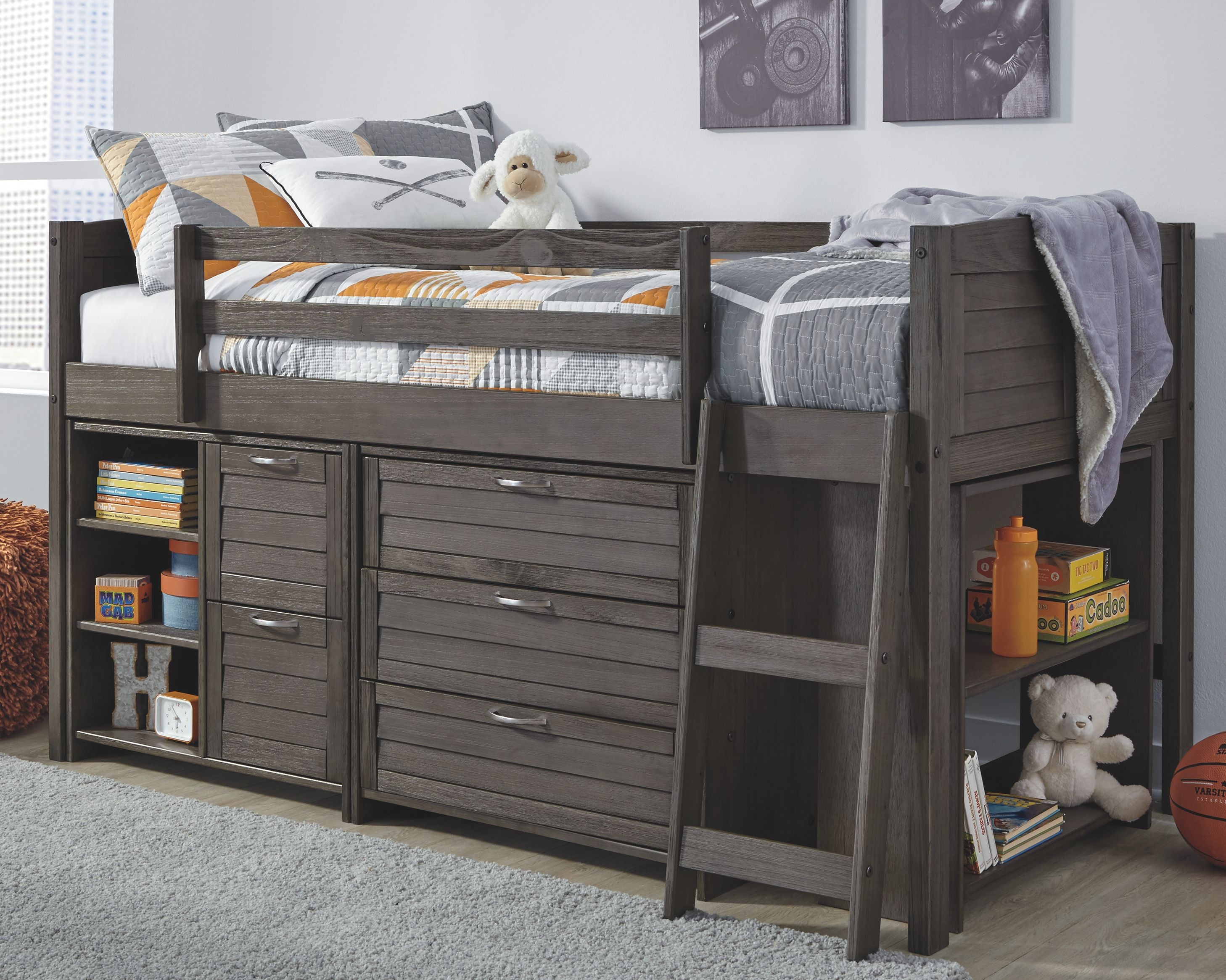 Caitbrook Twin Loft Bed with 1 Large Storage Drawer, Gray
