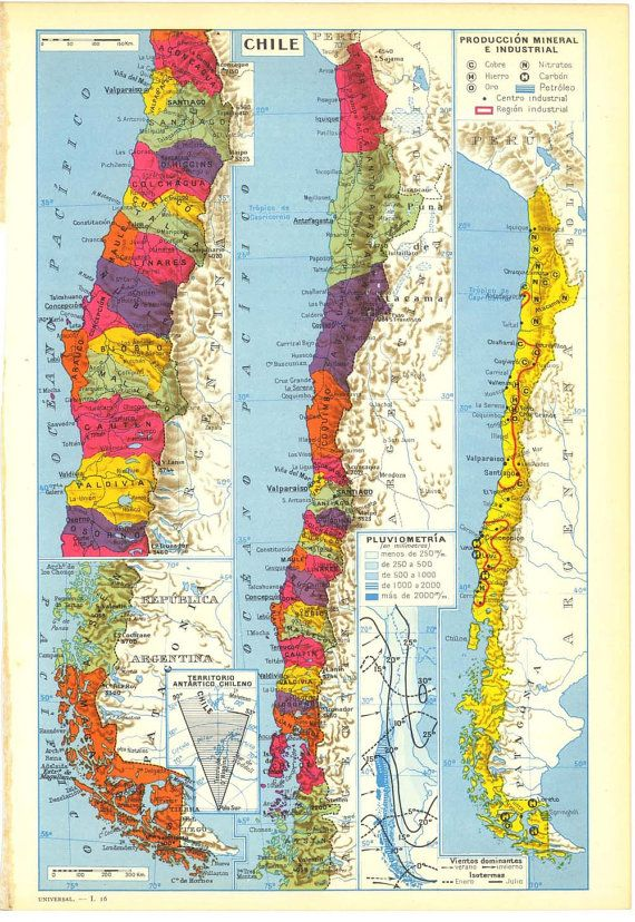 Vintage Map of Chile 1950s Political Division maestra