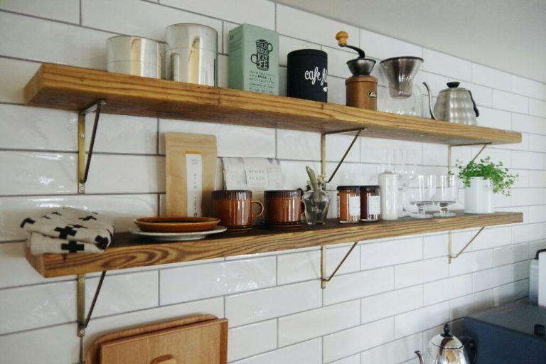 キッチン背面収納の飾り棚は足場板を希望 棚の寸法 キッチン雑貨の
