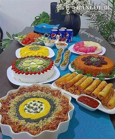 60 مدل دیزاین میز غذا و عصرانه تزیین میز فینگرفود مهمانی In 2021 Creative Food Persian Food Iranian Food