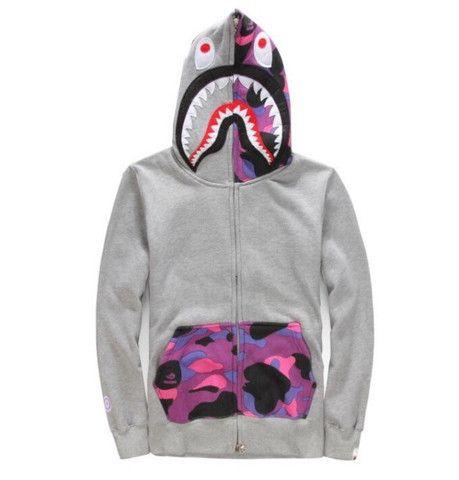 BAPE Grey and Purple Camo Shark Hoodie