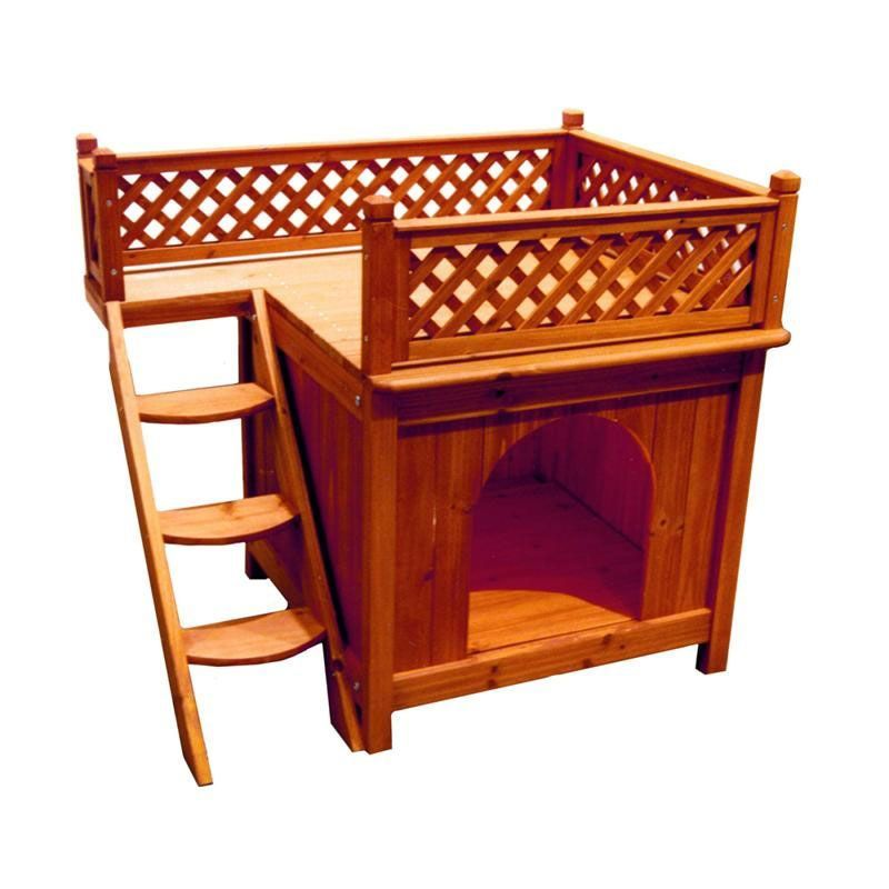 This Comfortable Balcony View Dog House With Its Lattice Fence And Stained Brown Cedar Color Will Sit Nicely On The De All Things For Your Dog Cat Woode