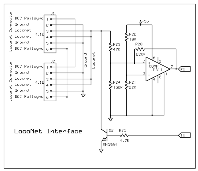John Plocher S Loconet Interface Schematic Model Railroad Arduino Electronics Projects Diy