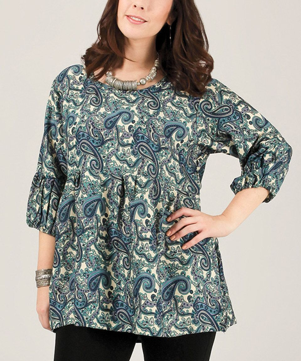 This Aller Simplement Navy & White Paisley Three-Quarter Sleeve Top - Plus by Aller Simplement is perfect! #zulilyfinds