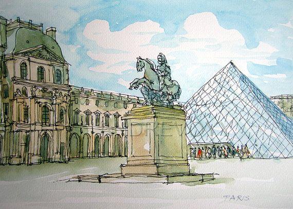 Paris Louvre Art Print From An Original Watercolour Painting
