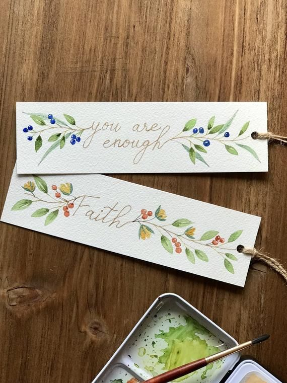 Watercolor Bookmark – set of two – original watercolor art, botanical illustration art, inspirational quotes, words, lettering
