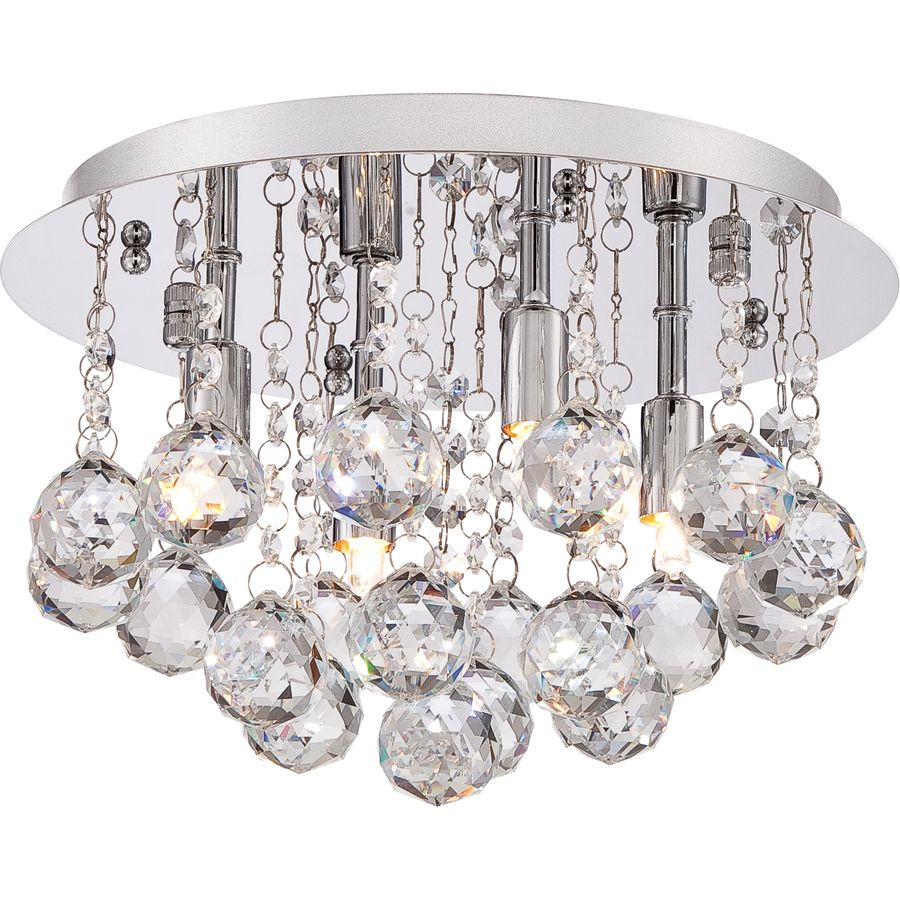 Style Selections 12 In W Polished Chrome Ceiling Flush Mount Light At Lowes