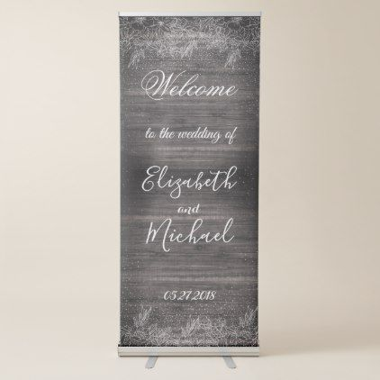 Whimsical Rustic Floral Confetti Wedding Design Retractable Banner