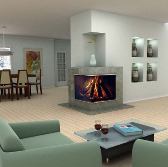 Two Sided Modern Corner Fireplaces Design Ideas Corner