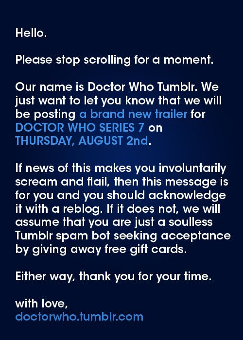 HAPPY BIRTHDAY TO ME! New Doctor Who Series 7 Trailer to be posted this Thursday, August 2nd!!!