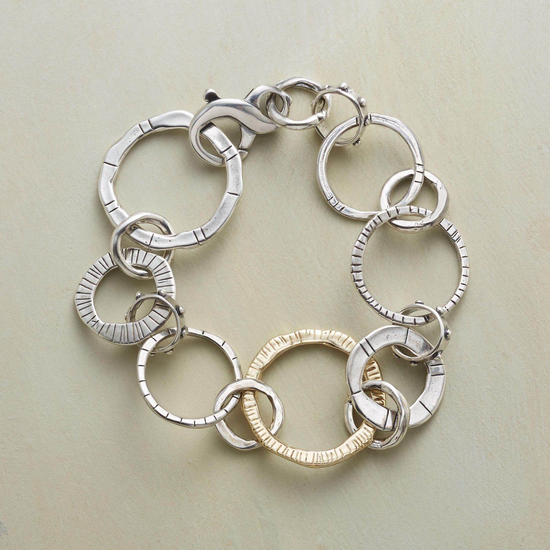 Linear rings bracelet the handcast rings in this bracelet align