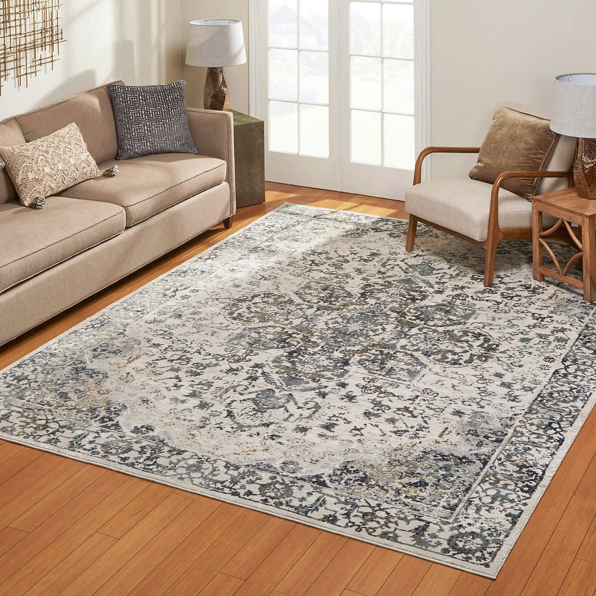 Aurora Rug Collection Cecile Ivory Gray Floor Rugs Living Room Living Room Wood Floor Rugs In Living Room