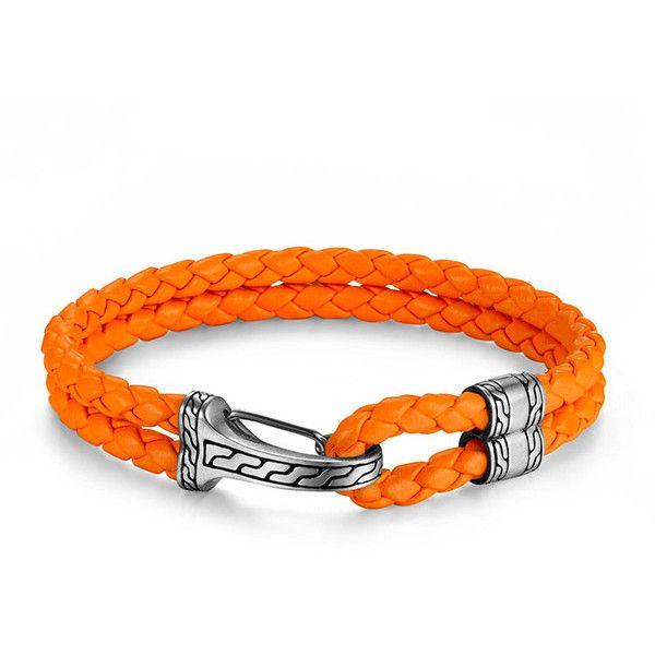 John Hardy Classic Chain Mens Hook-Station Bracelet, Orange