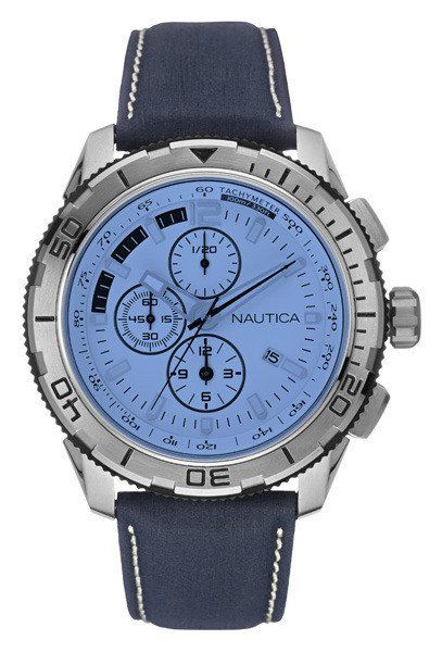 Nautica NAD19519G Men s Watch NST101 Chronograph Navy Blue Leather Strap c4d1335b0cd