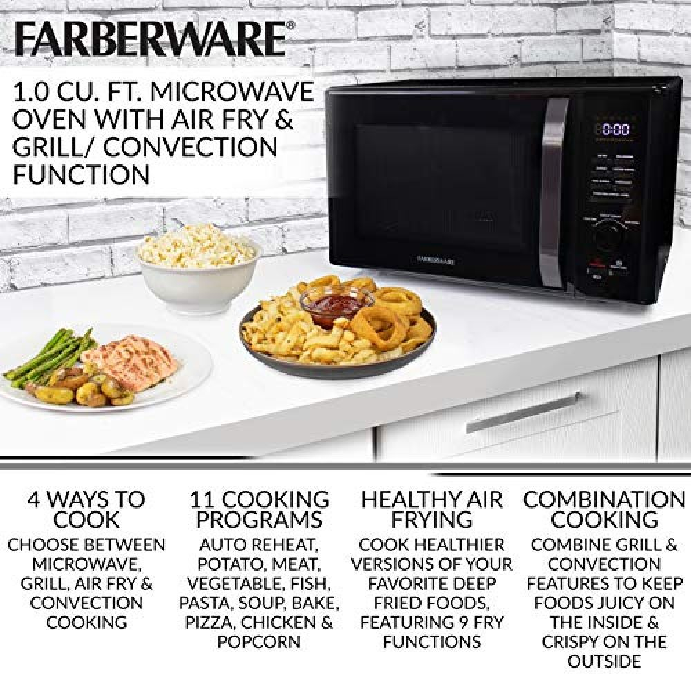 Farberware Black Fmo10ahdbkc 1 0 Cu Ft 1000 Watt Microwave Oven With Healthy Air Fry Grill Convection Function In 2020 Cooking Programmes Microwave Oven