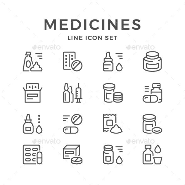 Set Line Icons of Medicines Isolated on White Available