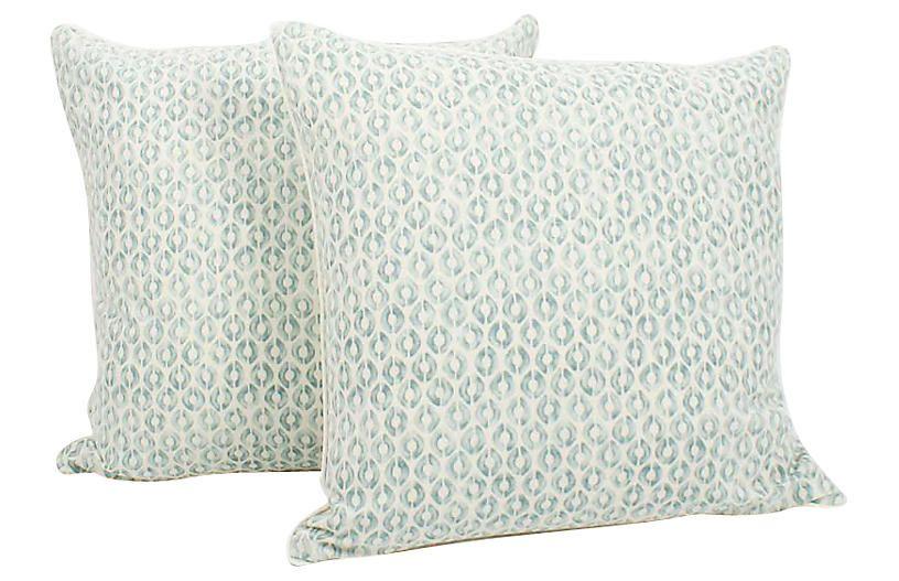 Seafoam Linen Ogee Blocked Pillows Pair Pillows Seafoam Green