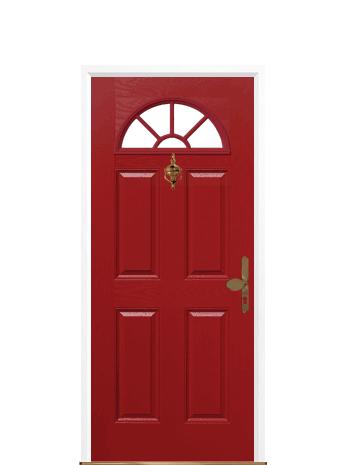 4 panel sunburst red composite front door | uk composite front