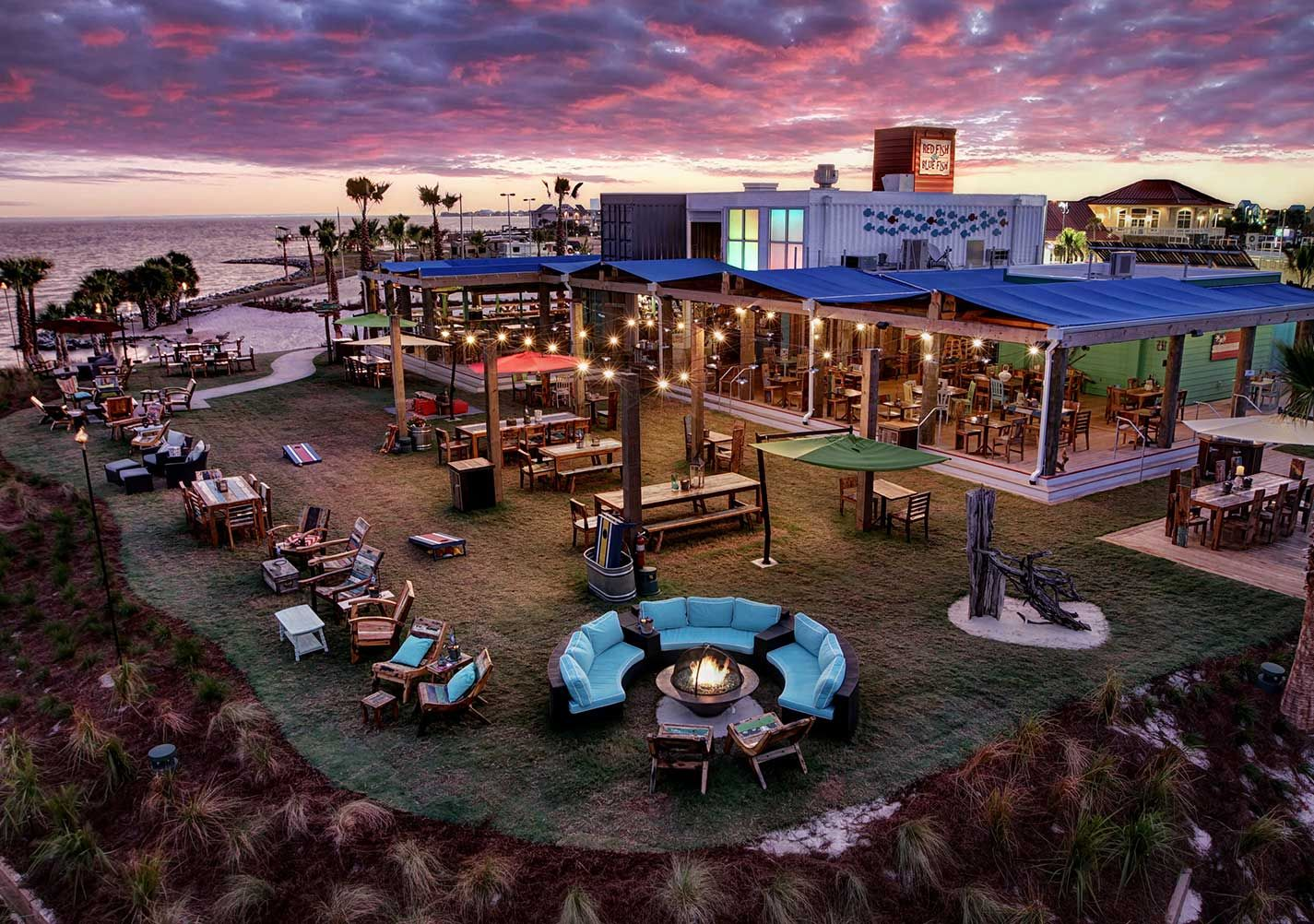 Red Fish Blue Is The Newest Outdoor Waterfront Restaurant On Pensacola Beach Built With Repurposed Shipping Containers From Indonesian Boat Wood That