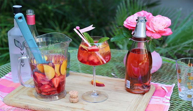 Summer Lovin' Rosé Sangria recipe by @lovehappyhour