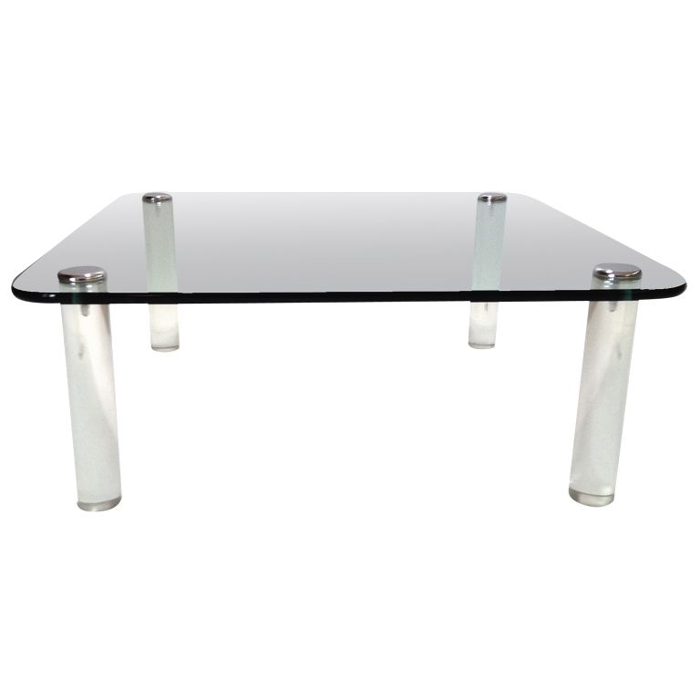 Thick Glass Top Lucite Leg Coffee Table By The Pace Company .