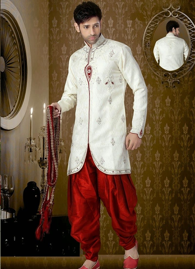 Lovely off white banasari sherwani is designed with sequins work, zarkan work, stone, beads and heavy zardosi work all synchronized effectively with the pattern and style and design of the attire for ...