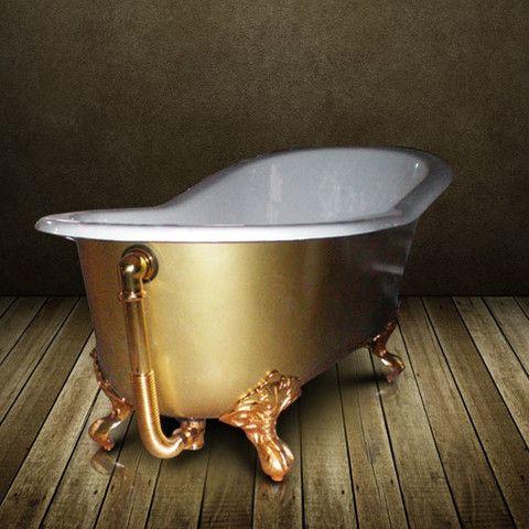 Baignoire En Fonte Doree Or Ashford Gold 156 Cm Baignoire