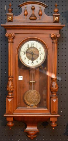 Antique Wall Clock With Carved Walnut Case Condition Relogio De Parede Madeira De Nogueira Eames