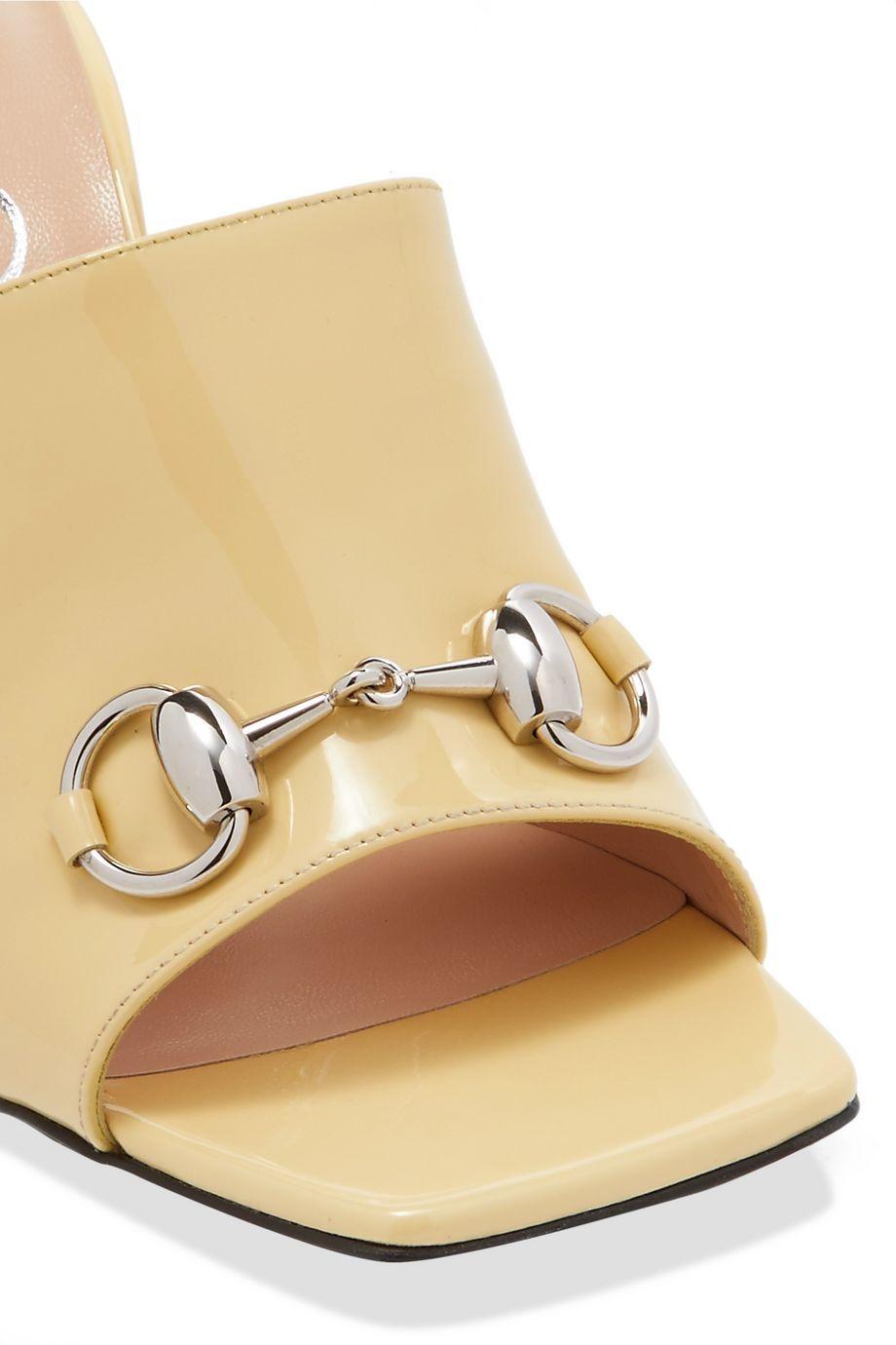 Beige Horsebit-detailed leather mules