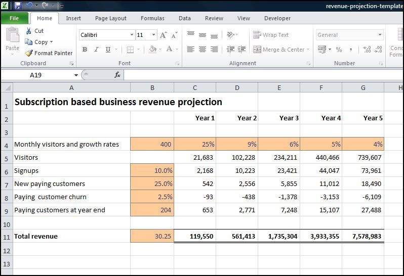 Subscription Based Business Revenue Projection busibess revenue - sample bar inventory spreadsheet