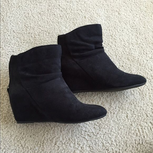 Suede wedge booties Black suede booties with hidden wedge on heels. Zipper in the back. Only worn once and in perfect condition. Diba Shoes Ankle Boots & Booties