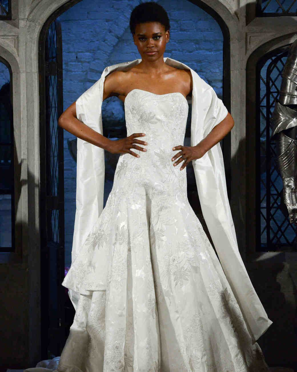Oleg cassini floral wedding dress spring fall runway