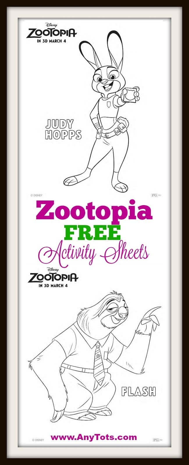 Disney Zootopia Free Coloring Sheets and Matching Game. You can use ...