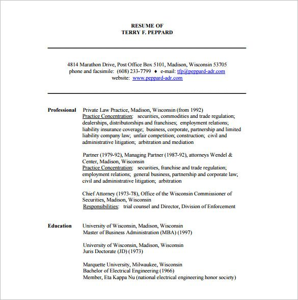 Lawyer Resume Template \u2013 10+ Free Word, Excel, PDF Format Download - attorney resume format