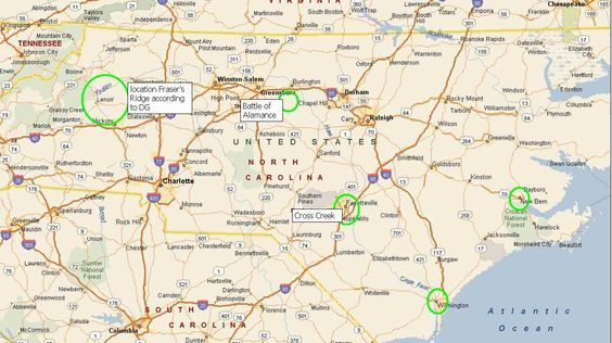 Fraser Ridge Nc Map.Map Of North Carolina And Where Fraser S Ridge Would Be Blood Of