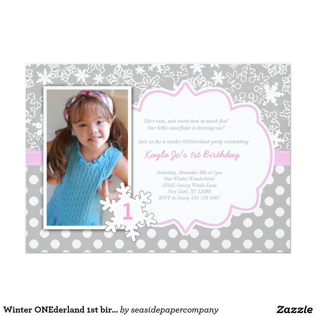 Winter ONEderland 1st birthday invitation | Winter onederland, Party ...